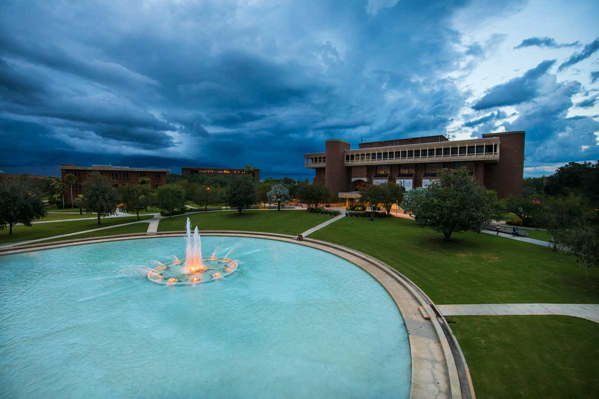 UCF's Refecting Pond and Library on a stormy day