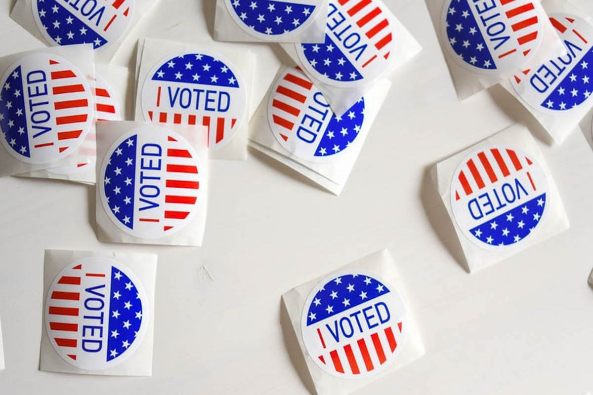 """A bunch of stickers that say: """"I Voted"""""""