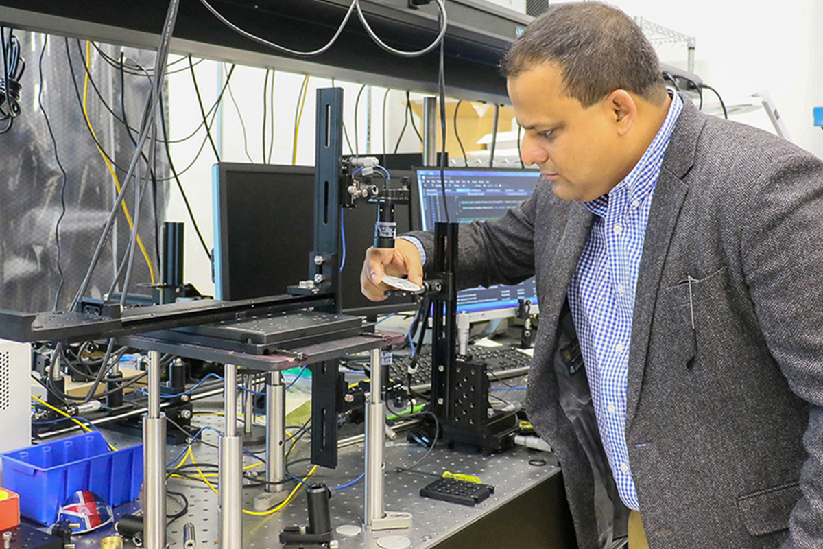 Kausik Mukhopadhyay, senior lecturer and researcher at UCF's Department of Materials Science and Engineering, works in his lab.