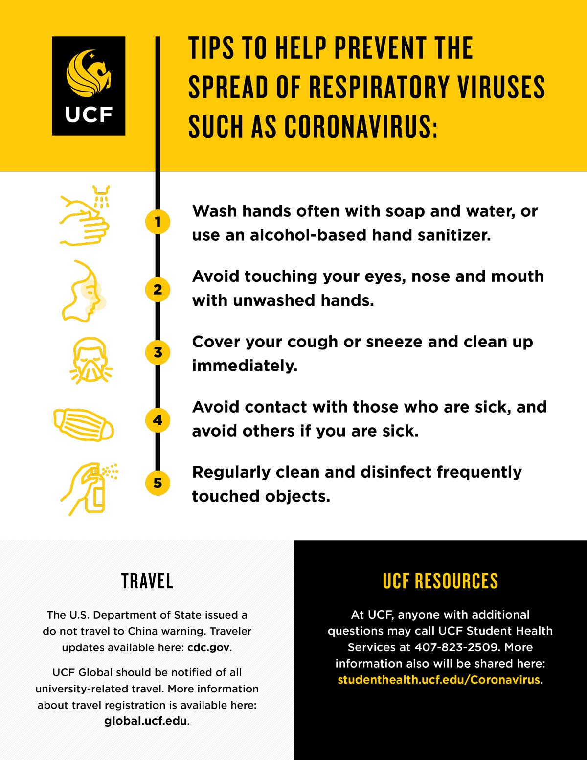 Flyer highlighting tips to prevent the spread of respiratory viruses