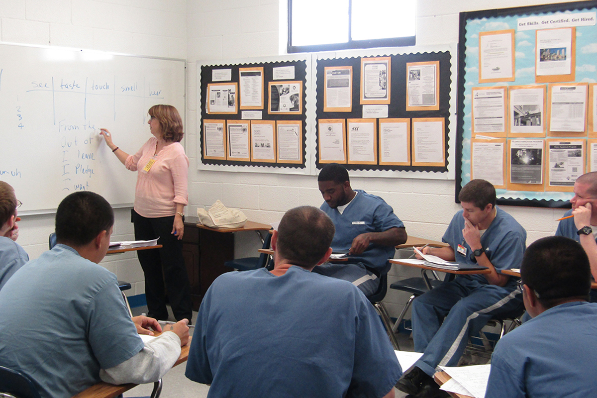 UCF English professor Terry Ann Thaxton teaches creative writing to people in prison at the Central Florida Reception Center in Orlando.