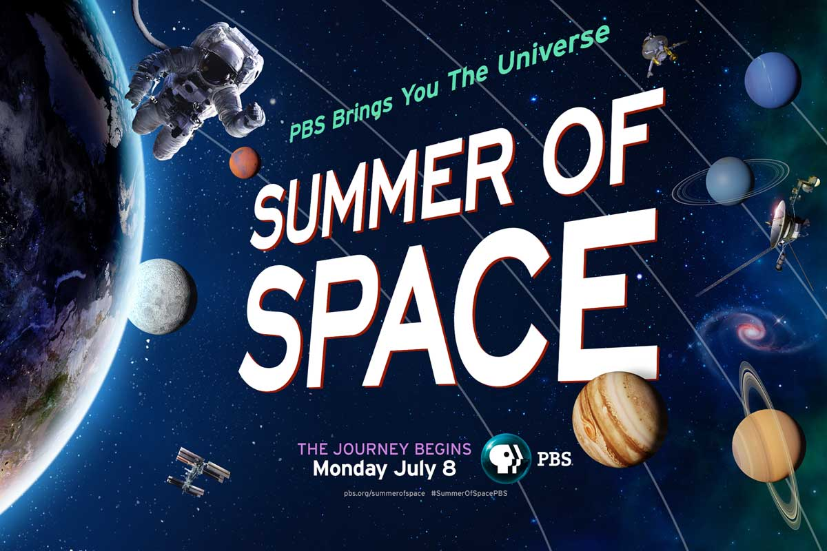 Graphic of astronaut in outer space with bold white text that reads Summer of Space