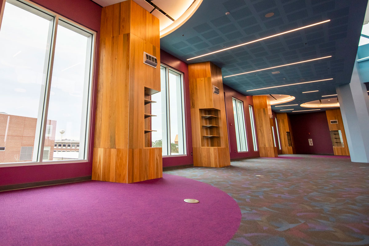 empty room with long windows, purple carpet and blue ceiling