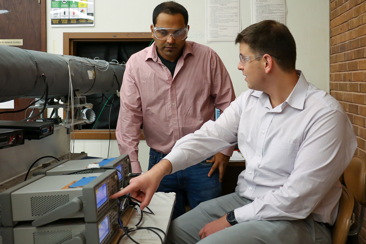 UCF researchers Subith Vasu and Samuel Barak working in the lab.