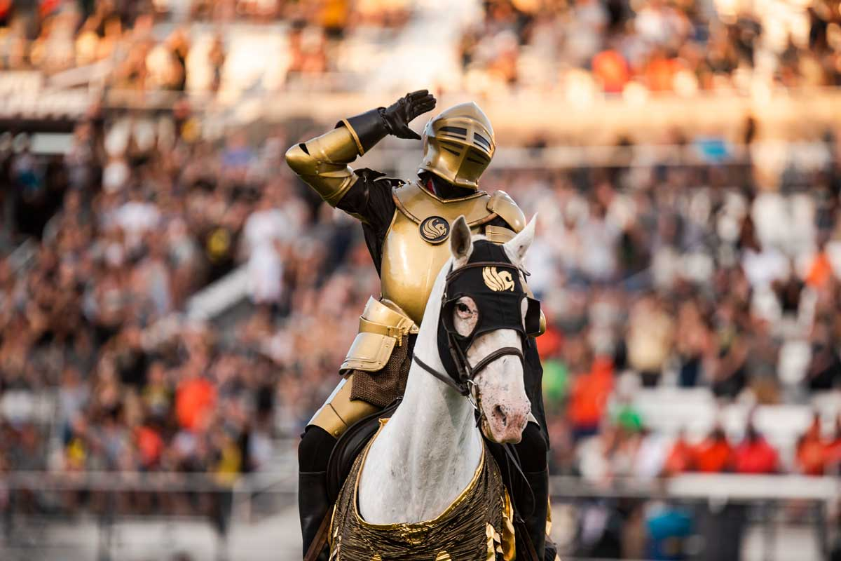 Gold Knight rides atop white horse at football stadium
