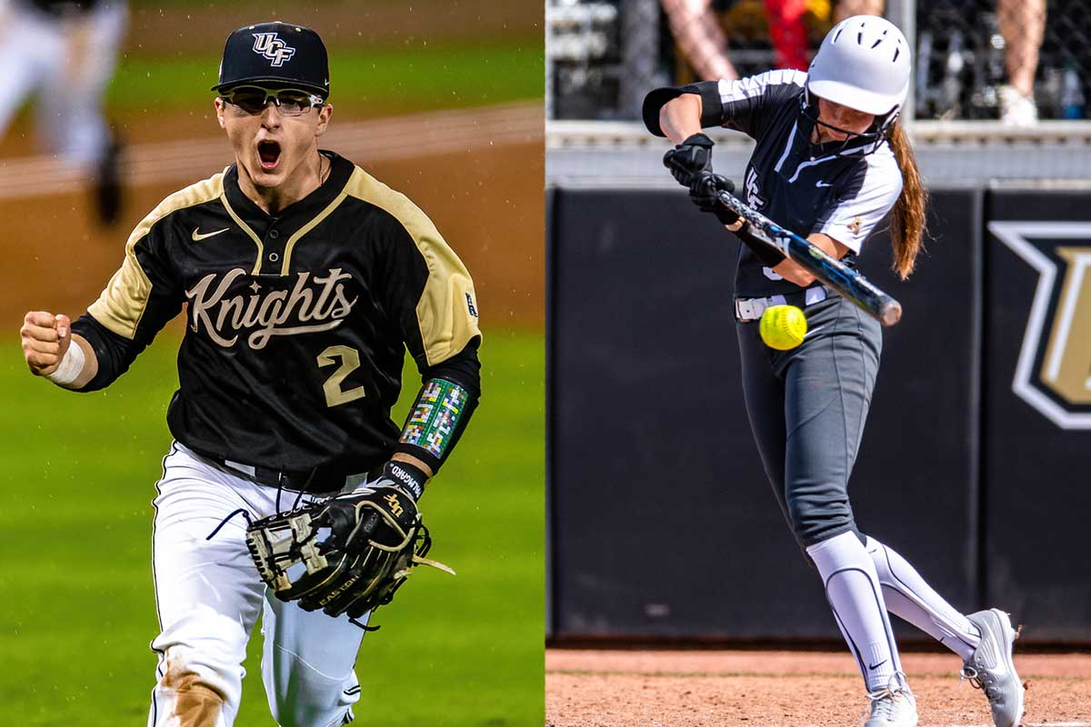 split image of UCF baseball player fist pumping while running and UCF softball player at bat