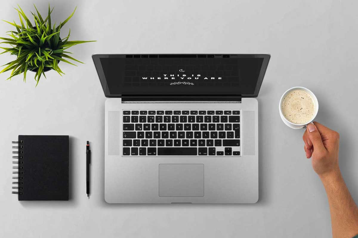 overhead view of laptop, small plant, notepad and pen and arm holding coffee mug