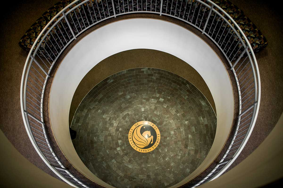 Elevated view of Pegasus seal surrounded by circular staircase