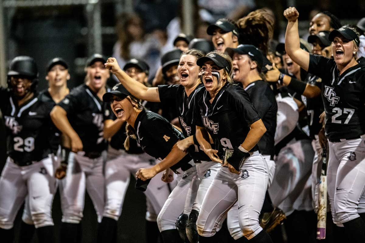 UCF softball team cheers and celebrates