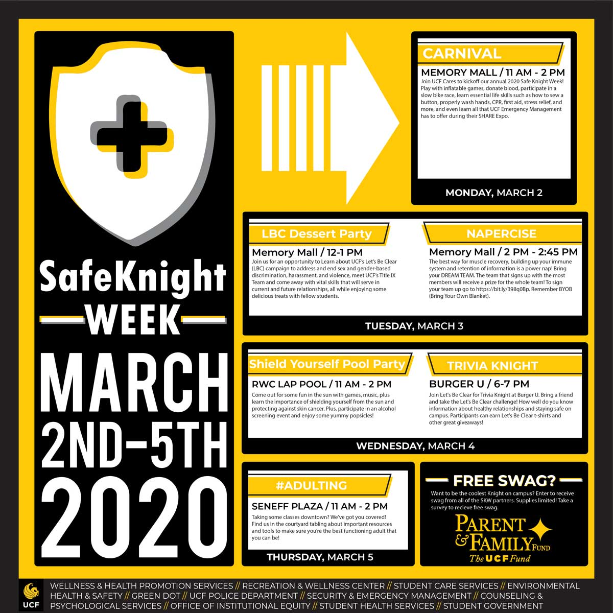 black and yellow graphic outlining Safe Knight Week's events