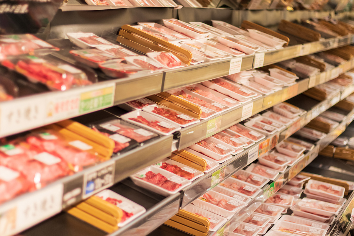 Rows of meat in a supermarket