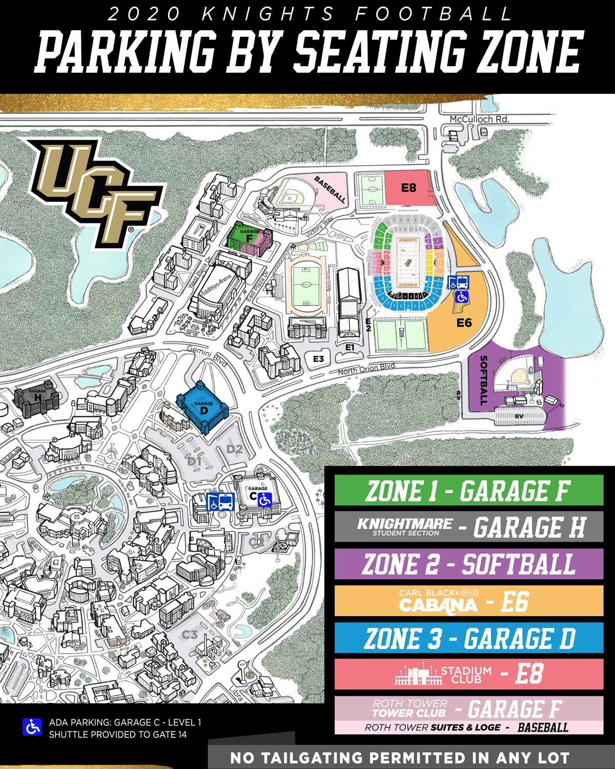 parking map for 2020 football season