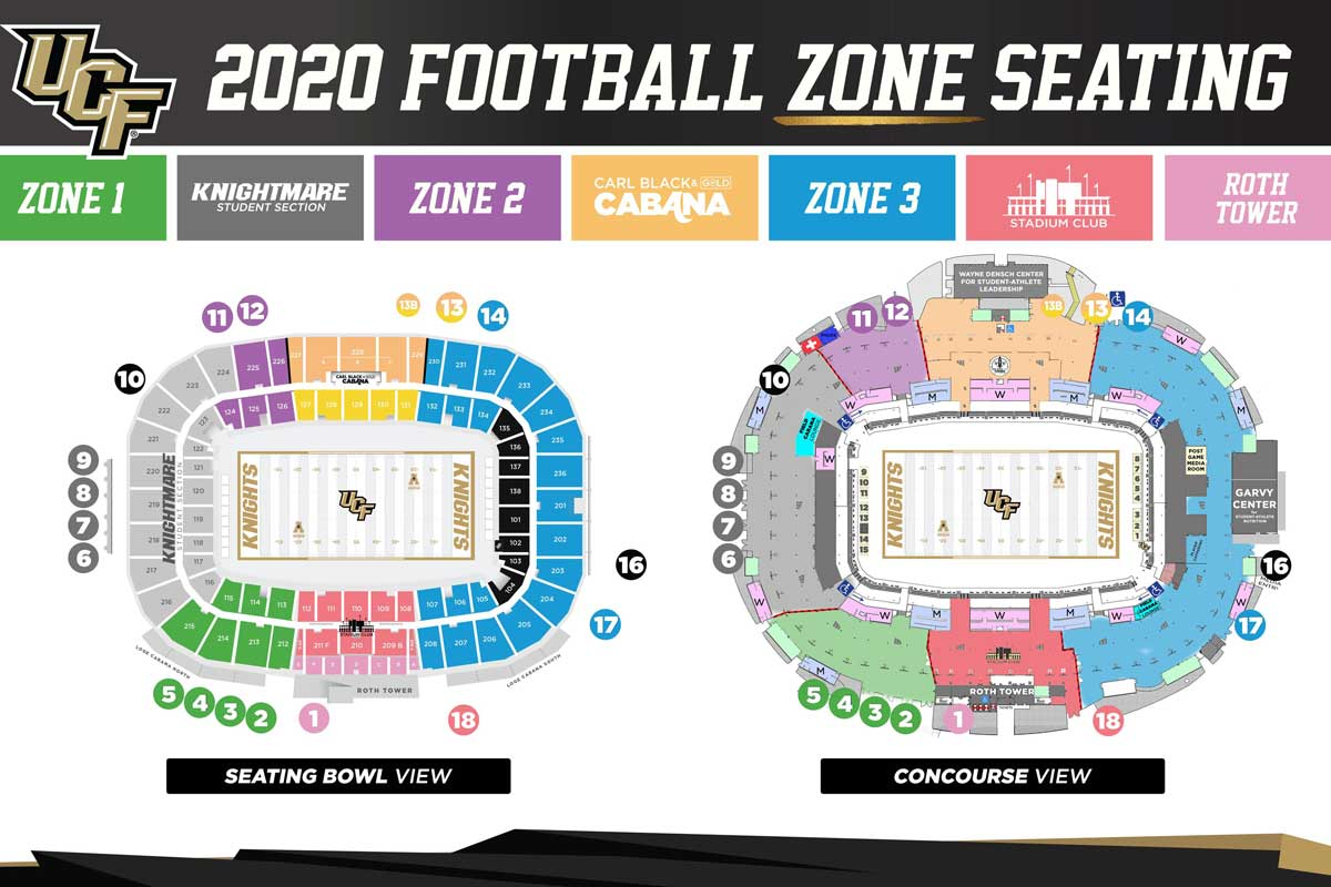 graphic of zone seating arrangements in the Bounce House
