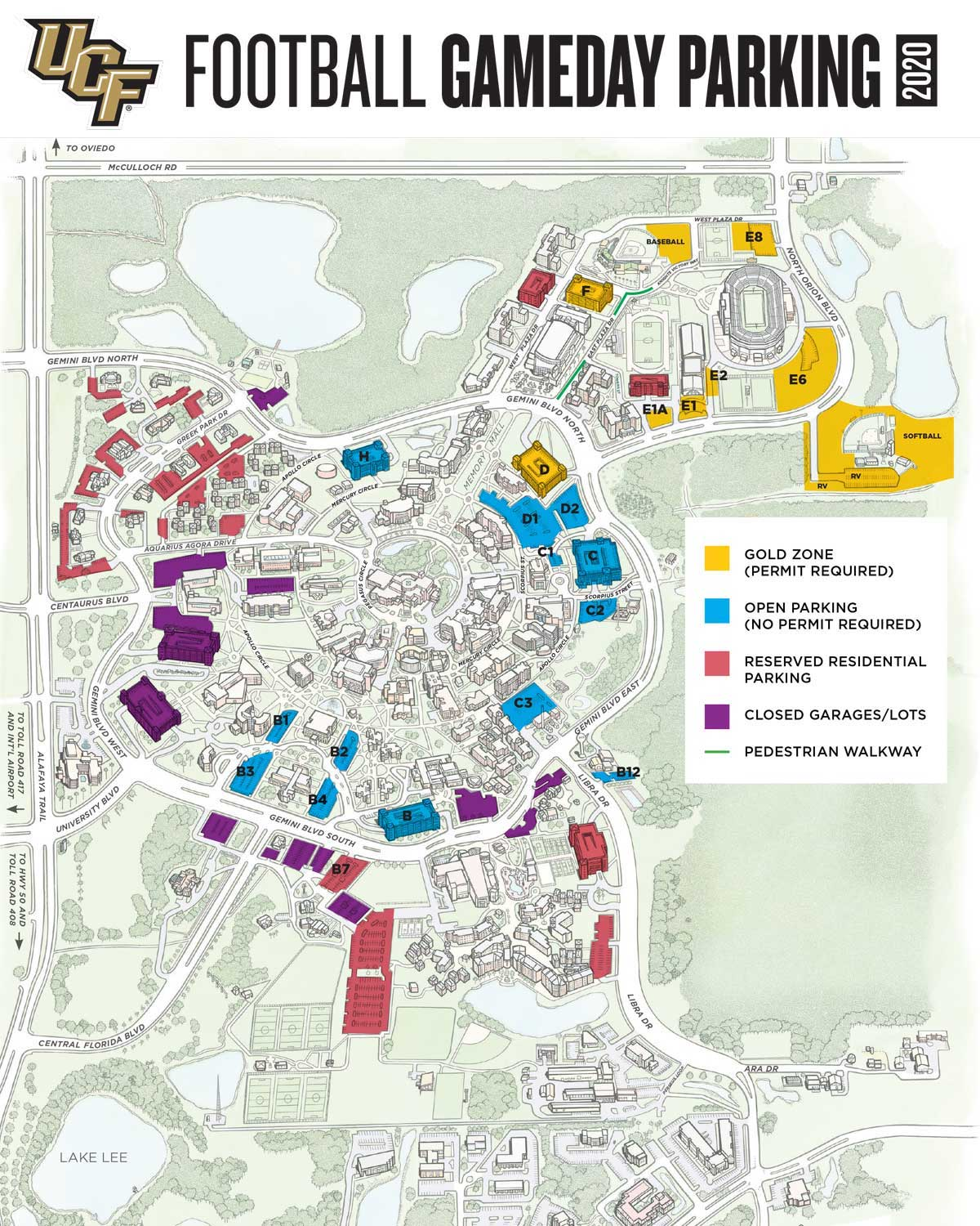 game day parking map