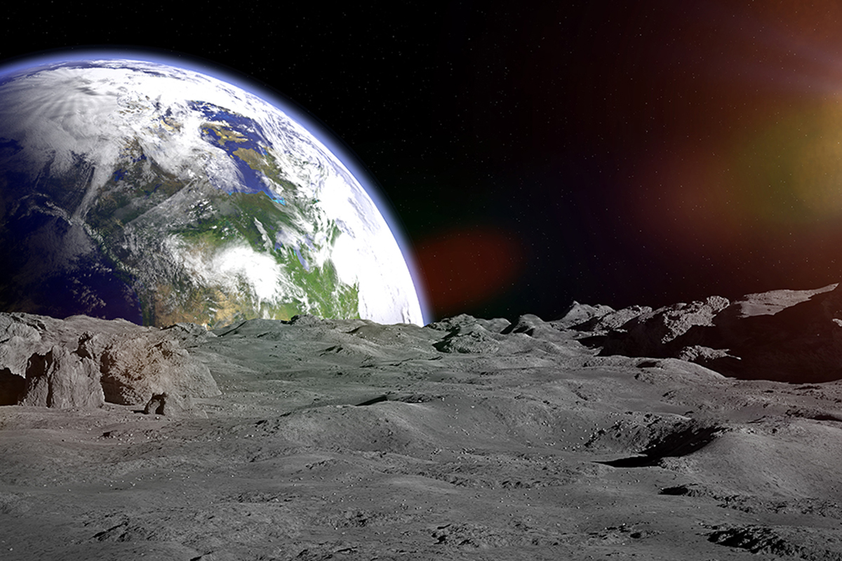 earth on the horizon in outer space