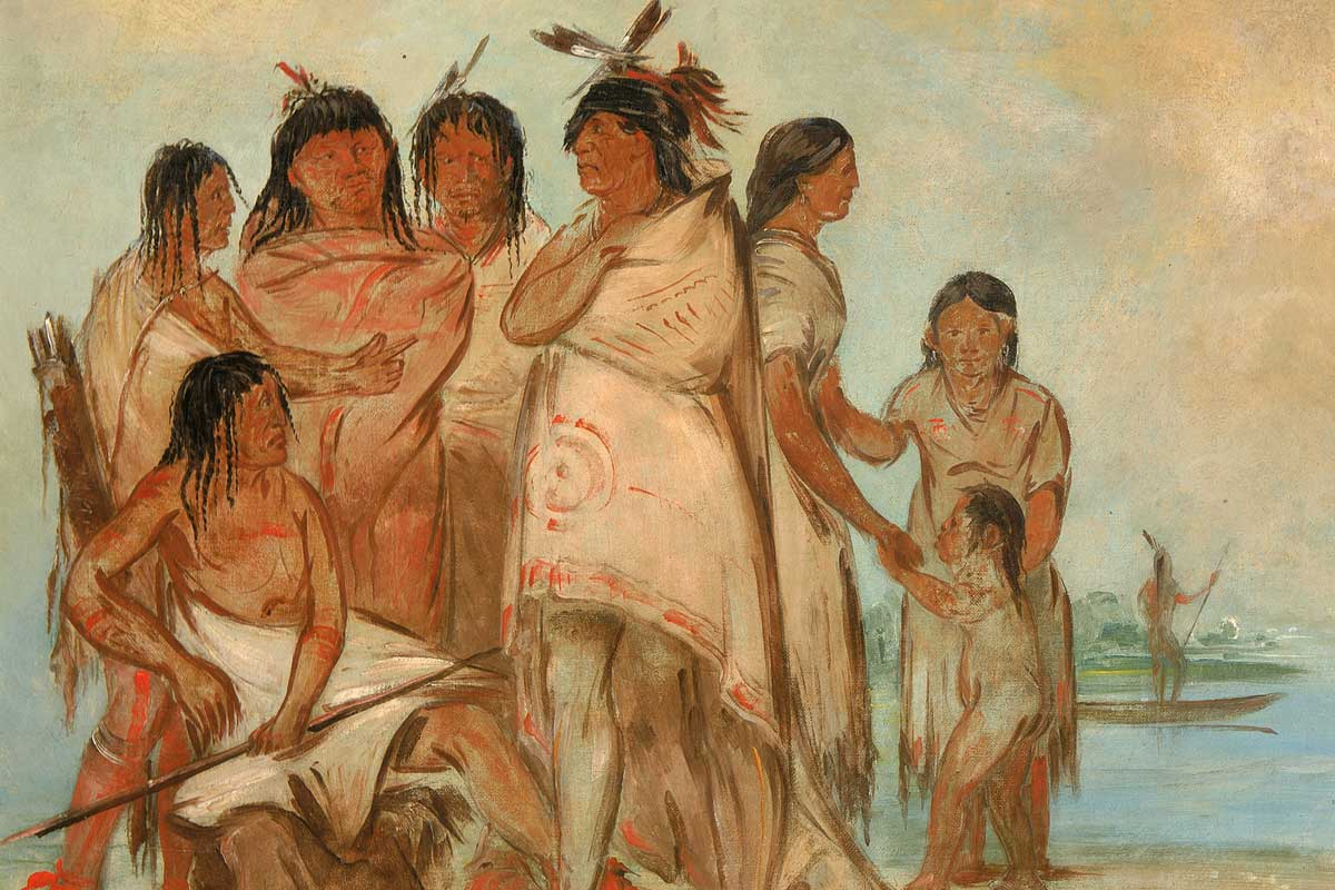 Painting of a group of Native Americans