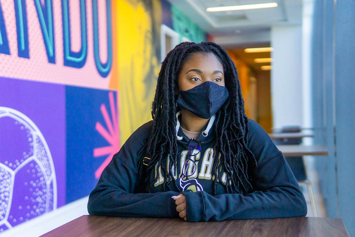 Oneisha Eugene wears a mask while inside a building on the UCF Downtown campus