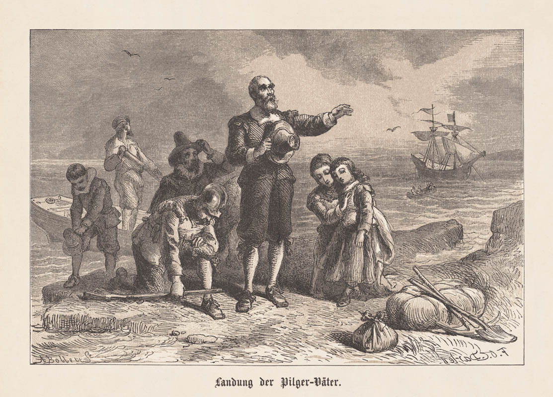 Embarkation of the Pilgrim Fathers in America, 1620. Wood engraving after a drawing by Felix Darley (American illustrator and engraver, 1824 - 1888), engraved by Albert (Alfred) Bobbett (American engraver, 1813 - 1888), published in 1876.