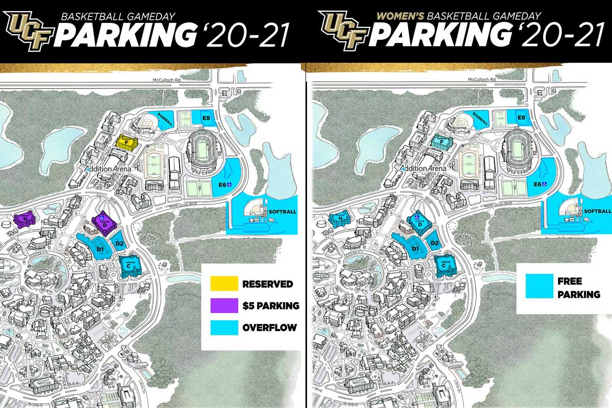 side by side parking maps of UCF campus on basketball game days