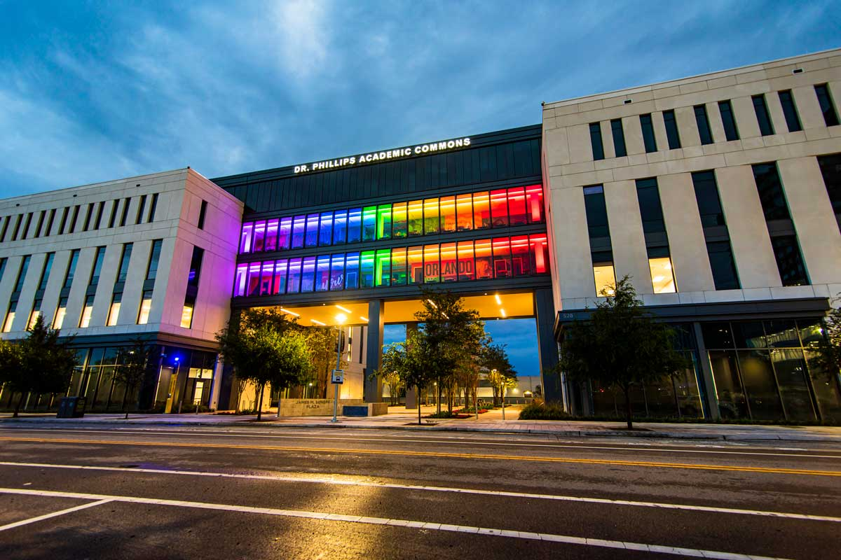 UCF Downtown's DPAC building lit in rainbow colors