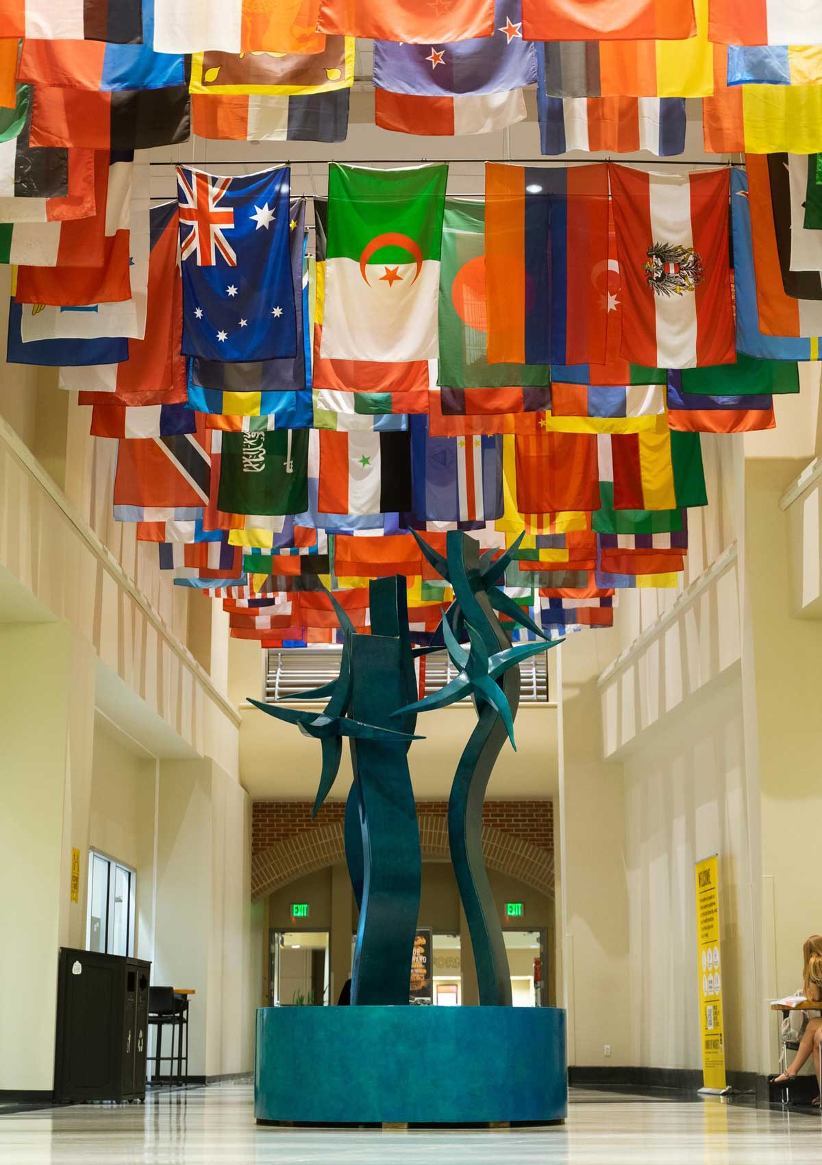 International flags in hallway of student union