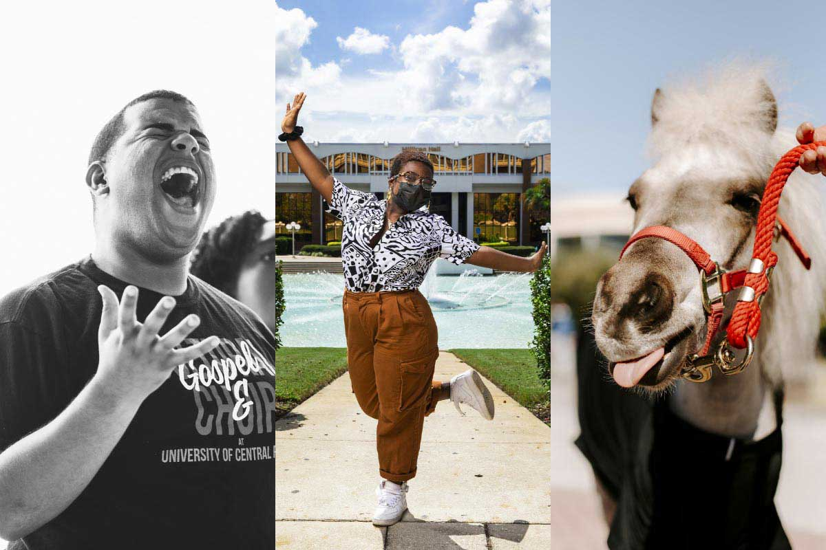 Three photo collage featuring a student singing, a student posing in front of the Reflection Pond and Knugget