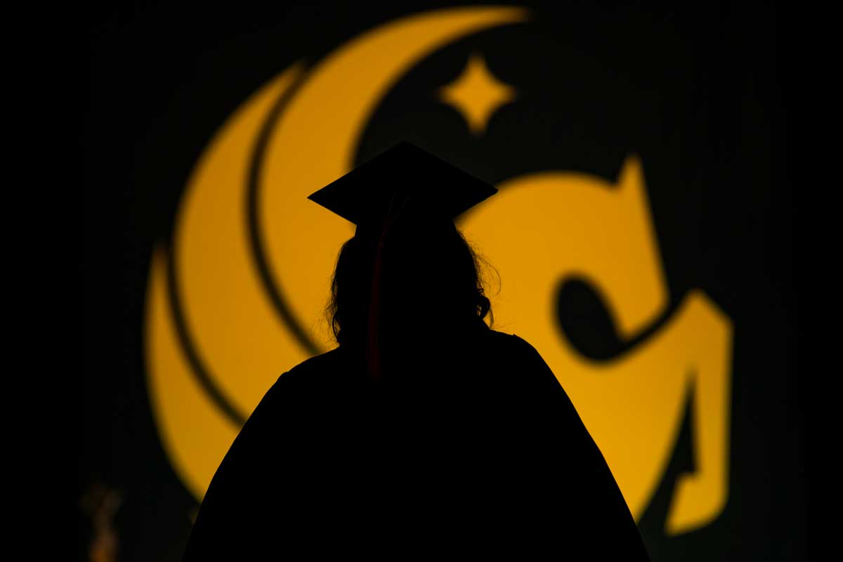 Silhouette of graduate in front of gold Pegasus seal
