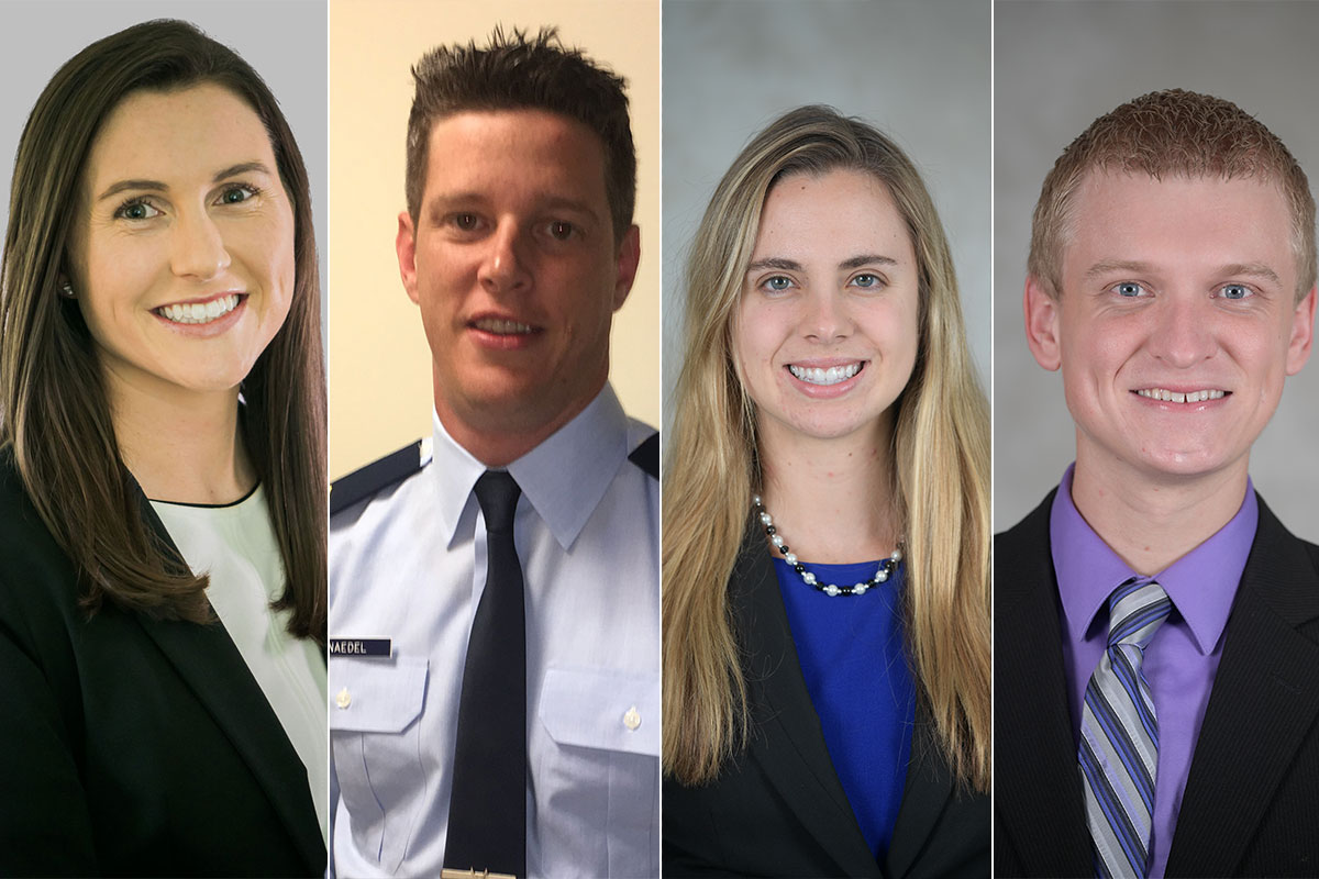 four headshots of students who matched into military residencies