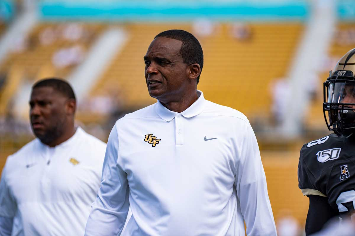 Randy Shannon in white UCF Nike pullover