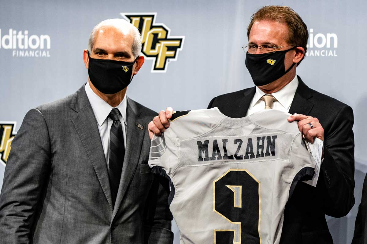 Terry Mohajir, UCF's new athletic director, and Gus Malzahn, the Knights' new football coach, at a press conference.