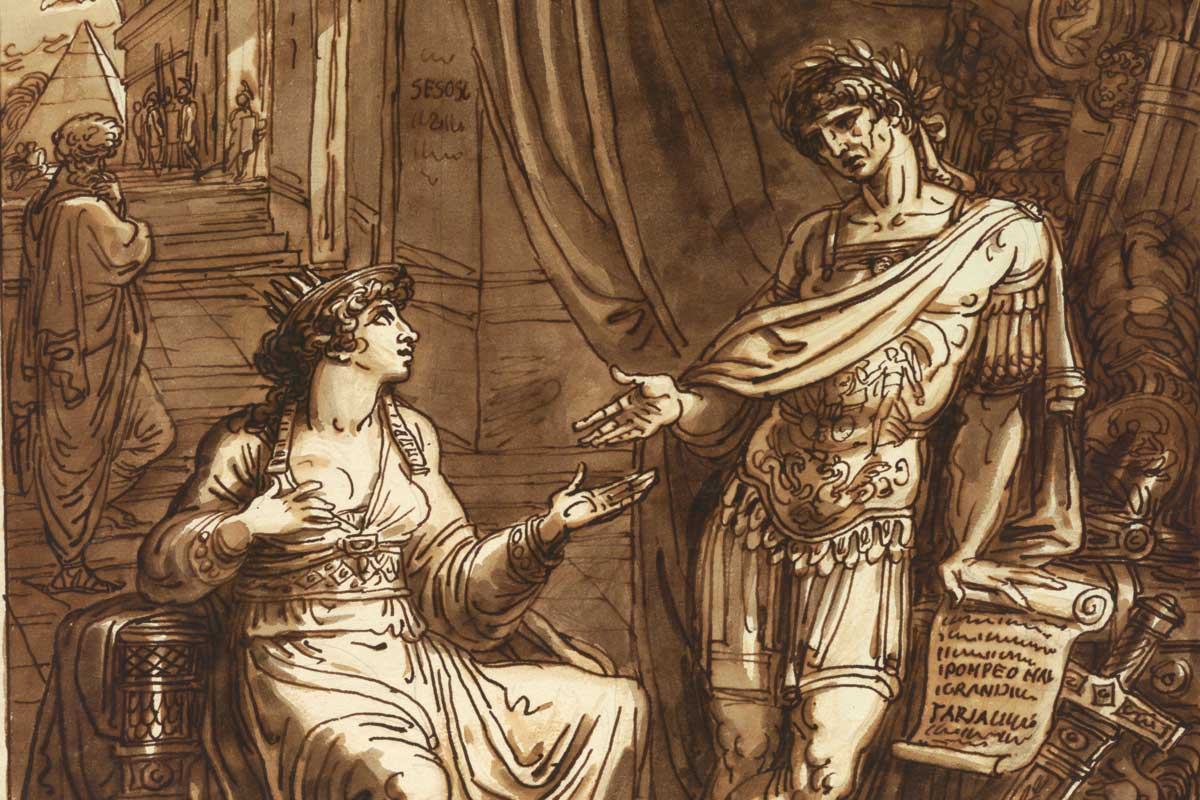 Drawing of Cleopatra sitting down as Julius Caesar leans on a wall next to her