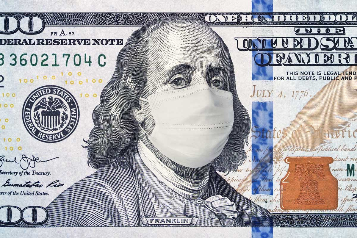 Ben Franklin with a face mask on the $100 bill