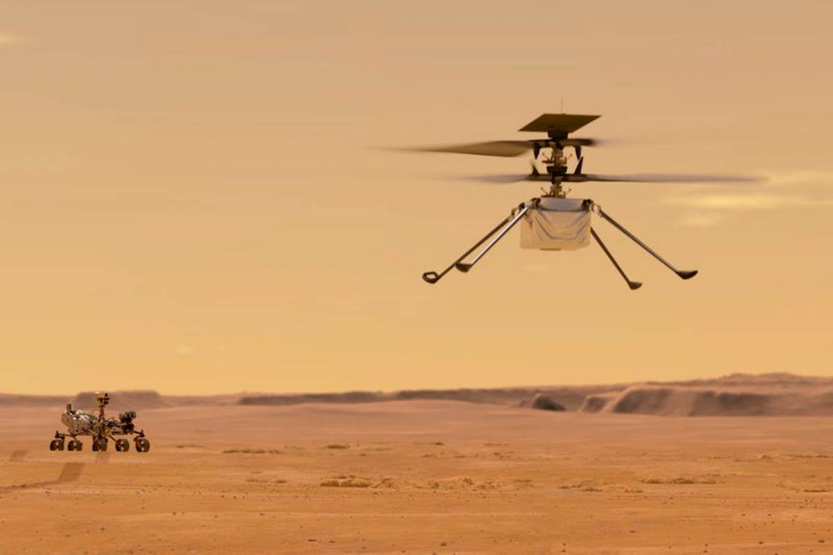 This artist's depiction shows the flight of the Ingenuity helicopter on Mars, a historic milestone that will mark an attempt to demonstrate flight on another planet. (Photo courtesy of NASA).