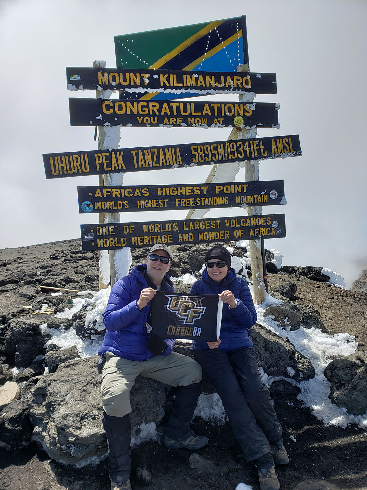 Marshall Schminke and Maureen Ambrose at the top of Mount Kilmanjaro