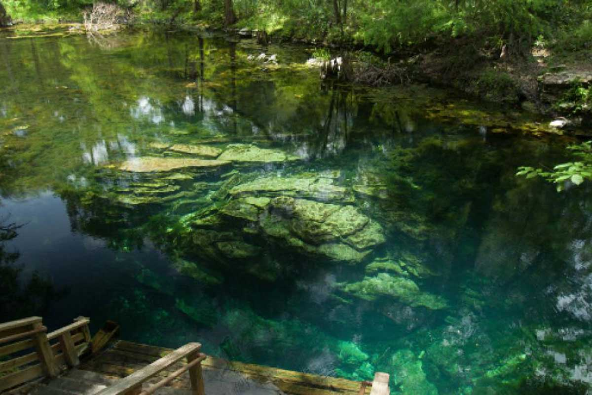 Dock leads to blue-green water of Peacock Springs