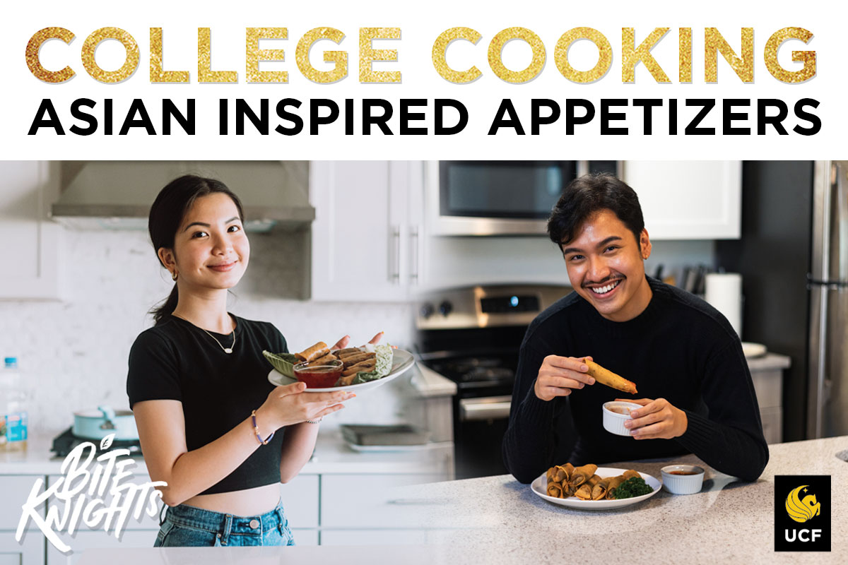 College Cooking: Asian Inspired Appetizers with two students posing in kitchens, holding plates of spring rolls