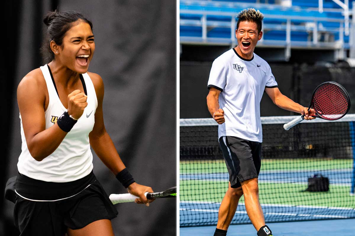 collage of two tennis players shouting in celebration