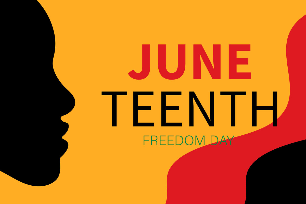 silhouette of Black woman with text: Juneteenth Freedom Day