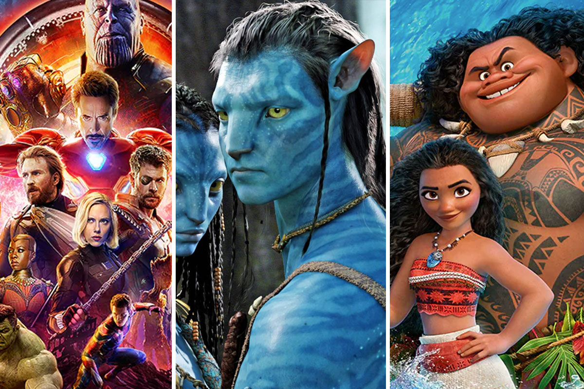 collage of three films: Avengers, Avatar and Moana