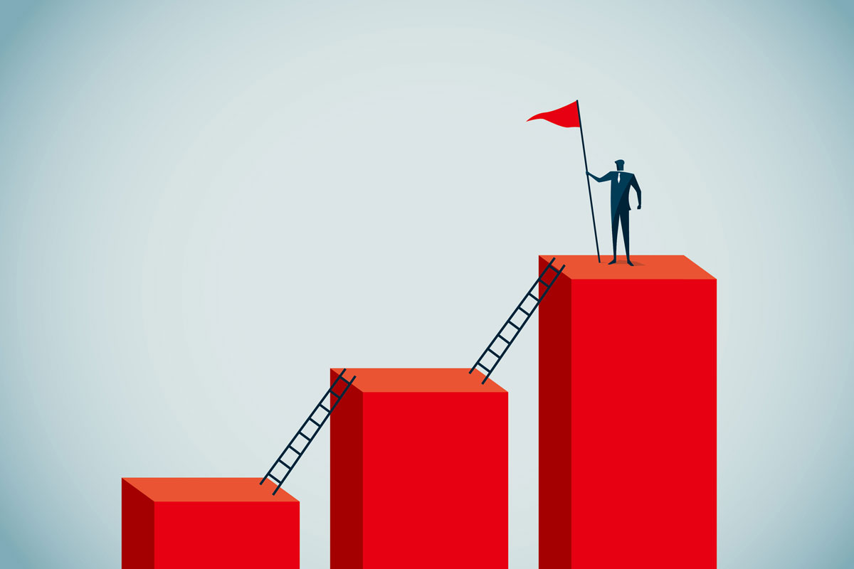 illustration of CEO climbing the ladder