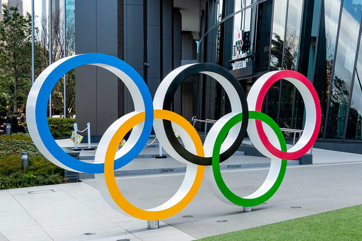 Olympic Rings installation in front of Tokyo building