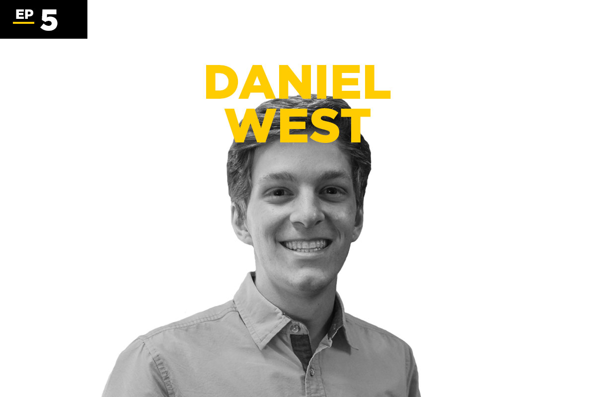 black and white photo of Daniel West with his name in gold