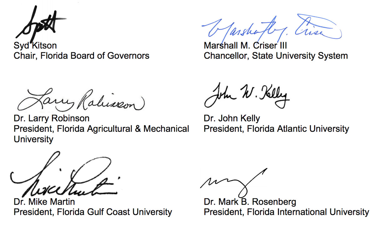 signatures along with names and titles of Florida BOG chair and several Florida university presidents