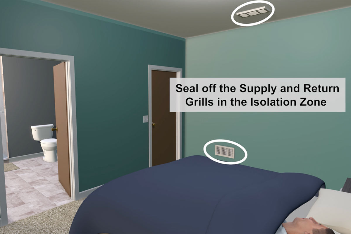 screenshot of a video showing how to create an isolation room for a sick person in a home