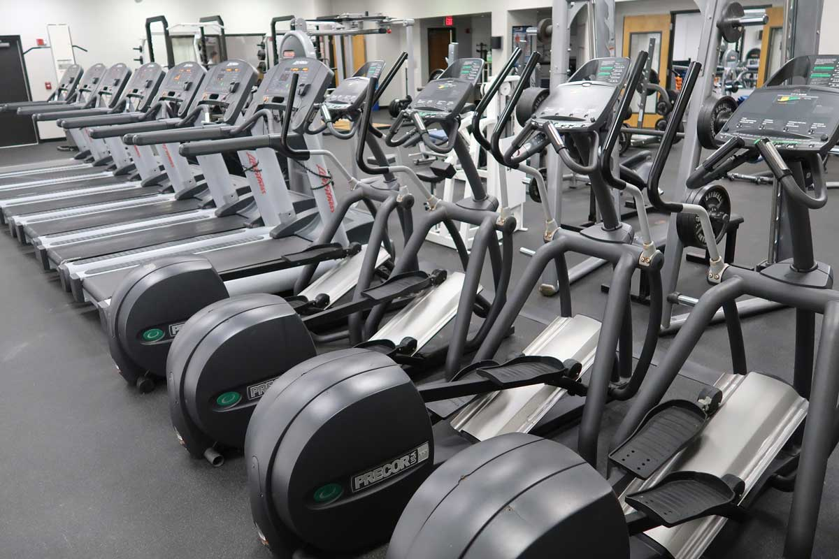rows of elliptical and treadmill machines