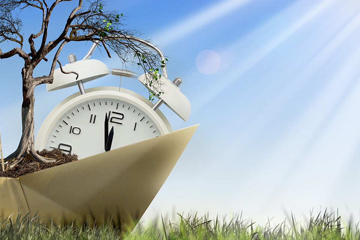 climate change illustration with ticking clock