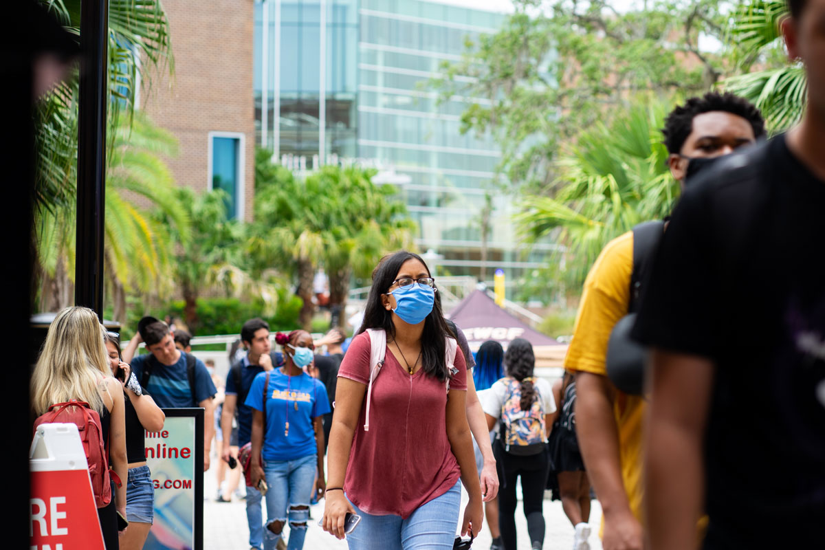 Students walk outside of Student Union at UCF