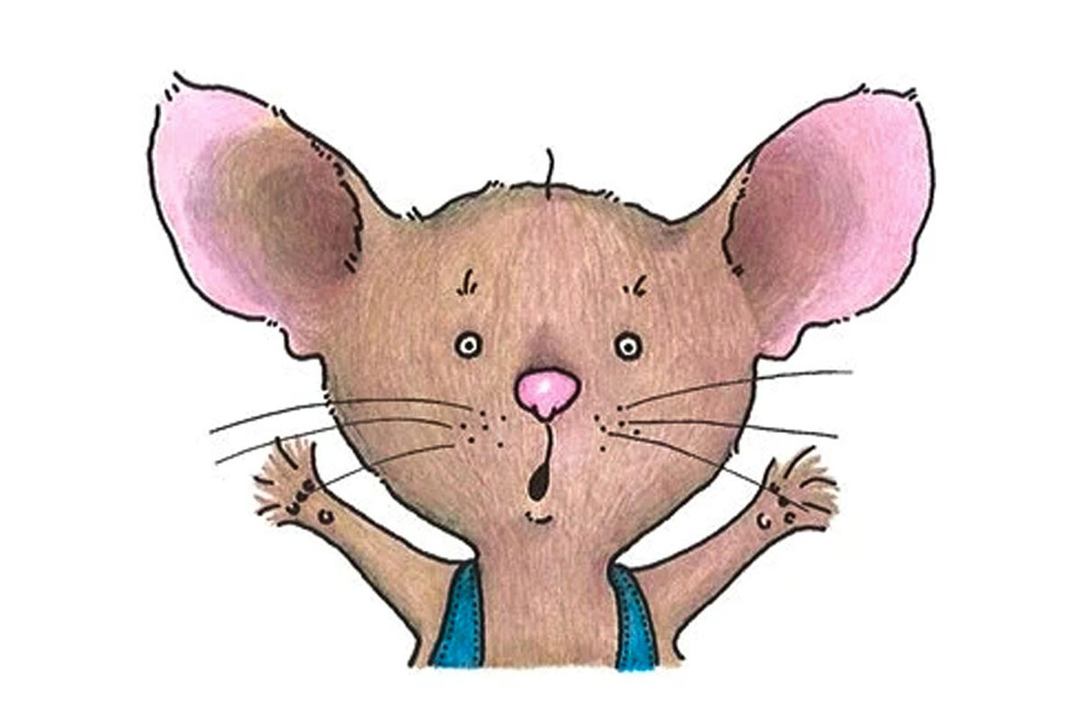 Cartoon mouse with a surprised look and arms extended