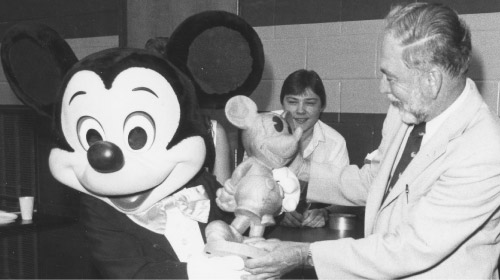 Mickey Mouse and President Colbourn