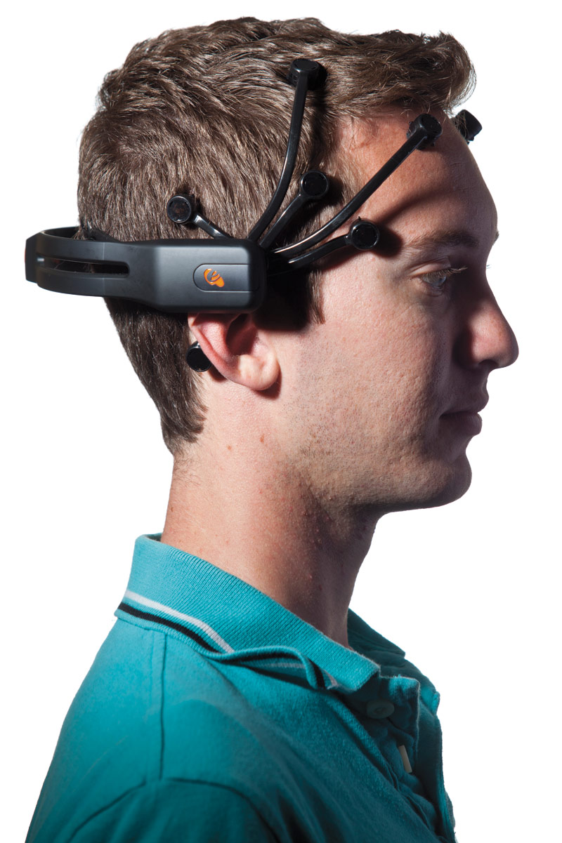 A headset on Stobridge picks up concentrated brain waves from 14 sensor pads and sends the signals that move the truck.